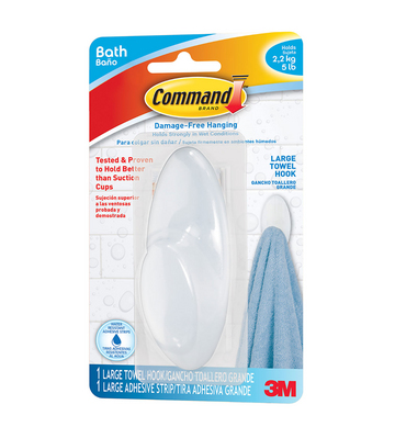 COMMAND ADHESIVE BATHROOM TOWEL HOOK