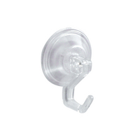 Power Lock Bathroom Shower Plastic Suction Cup Hooks, Set of 2, Clear