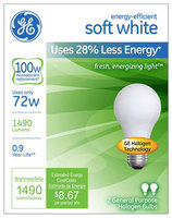 100W Soft White Halogen Light Bulb 2pk