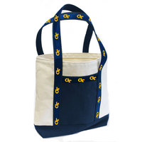 Large tote with college logo ribbon
