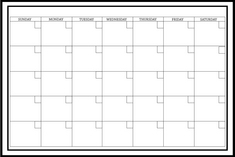 White Monthly Calendar 36x24