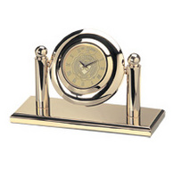 Penn Gold plated desk clock with University of Pennsylvania logo.