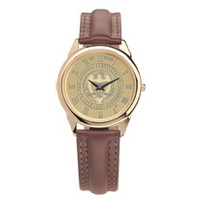 Georgia Tech Mens Wristwatch with Brown Leather Strap