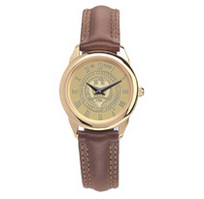 Georgia Tech Womens Wristwatch with Brown Leather Strap