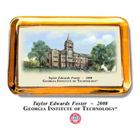 Georgia Tech Color Glass Paperweight