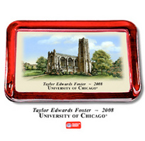 University of Chicago Color Glass Paperweight