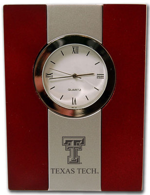 Texas Tech Red Raiders Wood and Metal Desk Clock