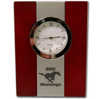 SMU Mustangs Wood and Metal Desk Clock