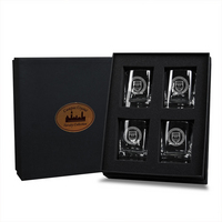 University of Chicago Campus Crystal Boxed Set Of Four Glasses