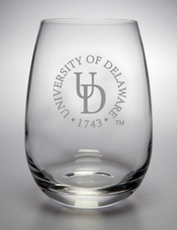 Delaware Blue Hens Campus Crystal Stemless Wine Glass