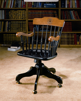 Swivel Desk Chair with Black Solid Maple Hardwood, Cherry Finished Arms and Crown