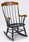 Boston Rocker with Black Solid Maple Hardwood, Cherry Finished Arms and Crown