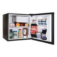 1.7cf Fridge w Freezer Black