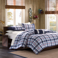 Twin Comforter Set  Blue Plaid