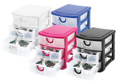 Mini Stackable 3 Drawer Assorted Colors