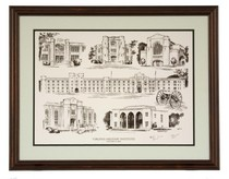 Virginia Military Institute Campus Composite Black and White Print