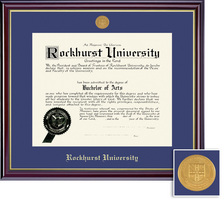 Framing Success Windsor Diploma Frame Medallion, Single Mat in Gloss Cherry Finish and Gold Trim