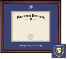 Classic Diploma Frame, Eco Hardwood Burnished Cherry Finish, School NameSeal Double Mat