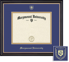 Prestige Diploma Frame, Eco Hardwood Satin Black Finish, Gold Trim, School NameSeal Double Mat