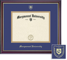 Windsor Diploma Frame, eco hardwood in gloss cherry finish, gold trim,shool nameseal on double mat