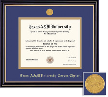 Framing Success Prestige PHD Diploma Frame Double Matted in Satin Black Finish, Gold Trim