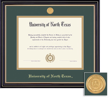 Framing Success Prestige Diploma Frame Double Matted in Satin Black Finish, Gold Trim. PhD