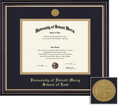 Framing Success Prestige Law Diploma Frame, Double Mat Satin Black Finish & Beautiful Gold Accents