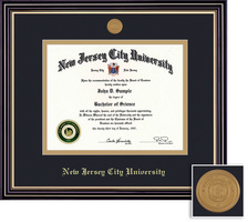 Framing Success Prestige Medallion Diploma Frame, Double Matted in Satin Black Finish, Gold Trim