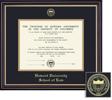 Framing Success Prestige Law Diploma Frame, Double Matted in Satin Black Finish, Gold Trim