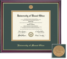 Framing Success Windsor Medallion Diploma Frame,Double Matted in gloss cherry finish, Gold Trim