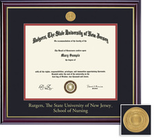 Framing Success Nursing MA Medallion Diploma Frame, Double Matted in Gloss Cherry Finish, Gold Trim