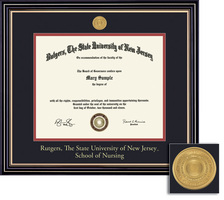 Framing Success Nursing MA Medallion Diploma Frame, Double Matted in Satin Black Finish, Gold Trim