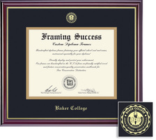 Framing Success Windsor Diploma Frame, Dbl Mat in High Gloss Chery Finish, Gold Inner Bevel. BA, MA
