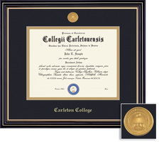 Framing Success Prestige Mdl Diploma Frame, Dbl Matted in Satin Black Finish, Gold Trim