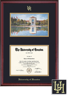 Framing Success Windsor Diploma & Litho Frame, Dbl Matted in Gloss Cherry Finish, Gold Trim