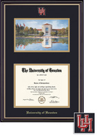 Framing Success Windsor Mdl Diploma & Litho Frame, Dbl Matted in Gloss Cherry Finish, Gold Trim