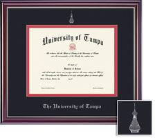 Framing Success Jefferson Diploma Frame. Double Matted in Gloss Cherry Finish with Silver Bevel