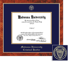 Framing Success Traditional Diploma Frame, Dbl Matted in Burled Walnut Finish. Criminal Justice