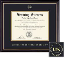 Framing Success Prestige Diploma Frame, Double Matted in Satin Black Finish with Gold Accents