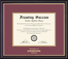 Framing Success Prestige Diploma Frame, Dbl Mat in a Satin Black Finish with Beautiful Gold Accents