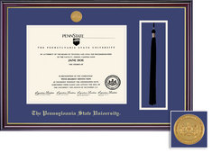Framing Success Diploma and Tassel Frame, Dbl Mat with Medallion, High Gloss Cherry Finish