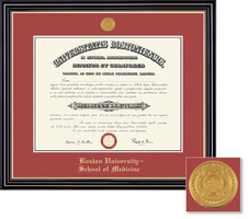 Framing Success Windsor (Cherry Finish) and Prestige (Black Finish) School of Medicine Diploma Frame