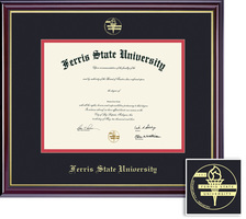 Ferris State University BA, MA Diploma with Black and Red Double Mat in Windsor