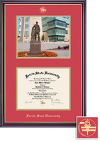 Ferris State University BA, MA Diploma and Photo with Red and Gold Double Mat in Windsor