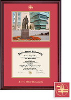 Ferris State University BA, MA Diploma and Photo with Red and Gold Double Mat in Classic