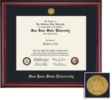 San Jose State University Diploma and Medallion with Black Single Mat in Classic