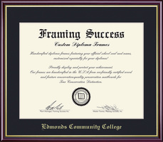Framing Success Academic Diploma Frame, Single Mat high gloss cherry gold inner bevel slim contour