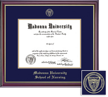 Framing Success Diploma Frame, Dbl Mat, High Gloss Cherry Finish, Gold Inner Bevel. Nursing,  PhD