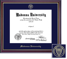 Framing Success Diploma Frame, Single Mat, High Gloss Cherry Finish, Gold Inner Bevel. BA, MA