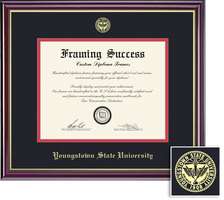 Framing Success PhD Windsor Diploma Frame, Double Mat, High Gloss Cherry Finish, Gold Inner Bevel